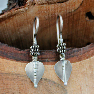 Rare Vintage Antique Old Silver Dangle Earrings Handmade Tribal Ethnic Jewelry