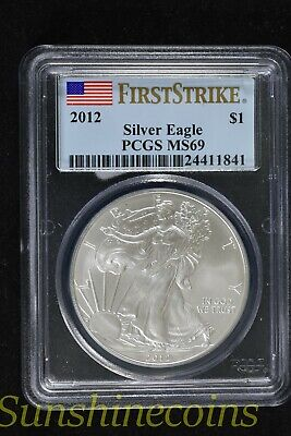 2012 Silver American Eagle Pcgs Ms69 First Strike Flag Label **l@@k!