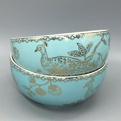 x2 222 Fifth Turquoise Peacock Garden Soup Bowl Set Cereal Salad Gold Easter NEW