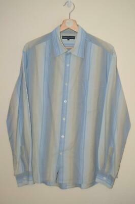 Retro Mens Blue & Cream Striped Chevignon L/S Cotton Shirt Uk Large Marked
