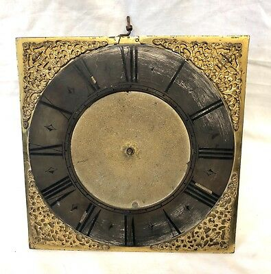 Antique Early Single Finger Brass Longcase Grandfather Clock Dial And Movement