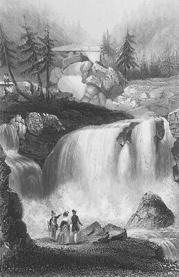 GERMANY Black Forest Falls of Tryberger - 1860 Steel Engraving Print