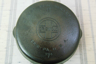 Vintage Griswold Large Block Logo Smooth Bottom Cast Iron # 8 Skillet 704 J