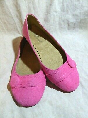 574ec2557713 MAX Collection Ballet Flats size 8.5 M Hot Pink Suede  Straps  Button  Accents