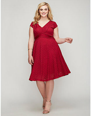 38aa9139ae5 LANE BRYANT LELA Rose Lily Lace Fit   Flare Dress Womens Plus 26 Red ...