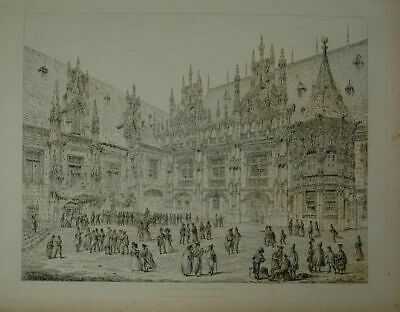 Palace of Justice - Rouen. Drawn and engraved by John Coney (1786-1833).