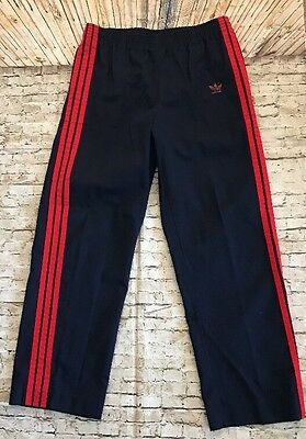 Vintage Adidas Men's Navy Track Pants Red Stripes and Trefoil Made in USA Size L
