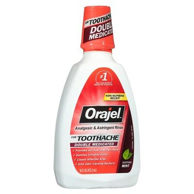 Orajel Soothing Mint Analgesic and Astringent Rinse for Toothacke - 16 fl oz