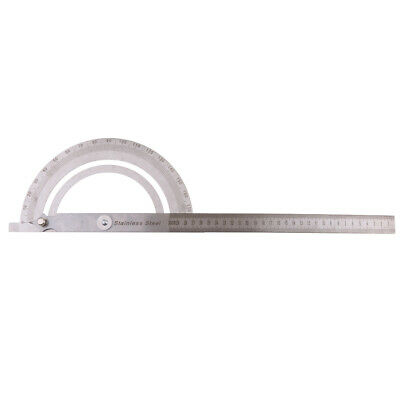 Round Angle Finder Ruler 180° Protractor Arm Ruler Steel Measure Tool Silver