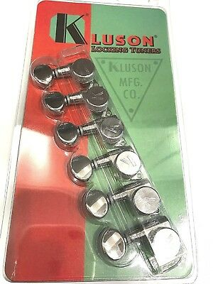 KLUSON TRADITIONAL 6 INLINE TUNERS KD-6B-NMDR W// OVAL BUTTONS NICKEL