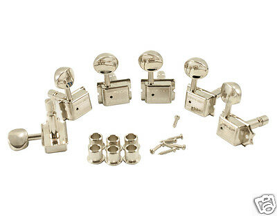 Kluson Traditional 6 Inline Locking Tuners Kdl-6B-Nmdr  W/ Oval Buttons Nickel
