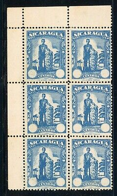 Nicaragua Specialized Unissued ESSAY BANANA Man Blue Block of 6 $$$
