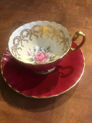 Vintage Aynsley Tea Cup and Saucer Burgundy with Gold Pink Rose Center