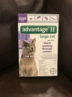 Bayer Advantage II Flea Prevention for Cats 9lbs - New! 6 Does! Factory Sealed!