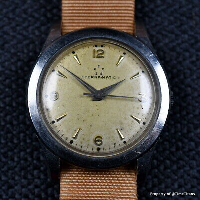 ETERNA AUTOMATIC 1950s Cal 1428U STAINLESS STEEL PATINA DIAL 34.5MM BEVELED LUGS
