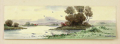 AH STETSON Signed Antique c.Early 1900s W/C Painting WINDING RIVER & COTTAGE