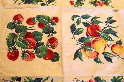 VINTAGE Kitchen TABLECLOTH 1940'S 36 x 50  Dead Stock Sanford Fruit Peaches