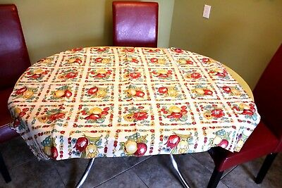 VINTAGE Kitchen TABLECLOTH 1940'S  48 x 38  DeadStock Floral & Fruit Red Green
