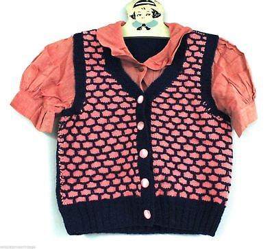 "VTg Girls Sweater Vest/ Blouse 1940s Red Pink Blue Unique Pattern 28"" Chest"