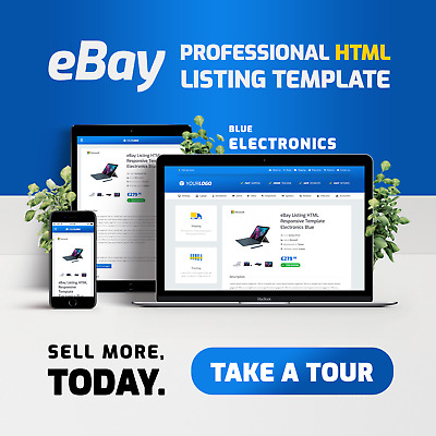 eBay Professional HTML Auction Listing Template 2019 HTTPS NO ACTIVE CONTENT 🔥