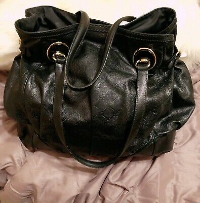 7bc167dc5a74 AUTHENTIC GUCCI Black Leather Guccissima Handbag Large PREOWNED GOOD  CONDITION