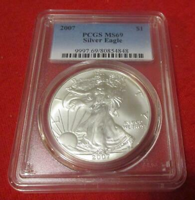 2007 PCGS MS 69 Silver Eagle. ASE. Blast White                           MF-217