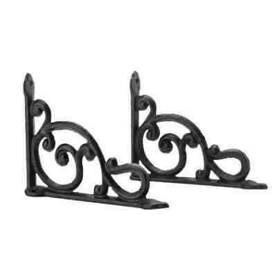 2 Pcs Antique-rust Style Cast Iron Brackets Garden Rustic Shelf Bracket Brown US