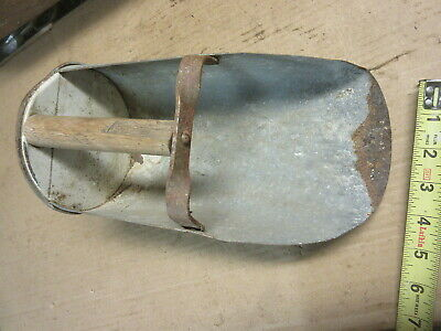vintage galvanized metal grain feed scoop antique farm barn tool garden decor