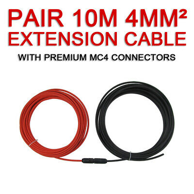 2 x 10m Extension Cable Wire MC4 Connectors Solar Panel to regulator Cable 4mm2