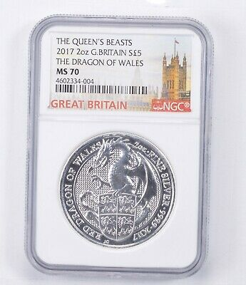MS70 2017 Great Britain 2 Oz Silver 5 Pounds - The Queen's Beasts - NGC *1393