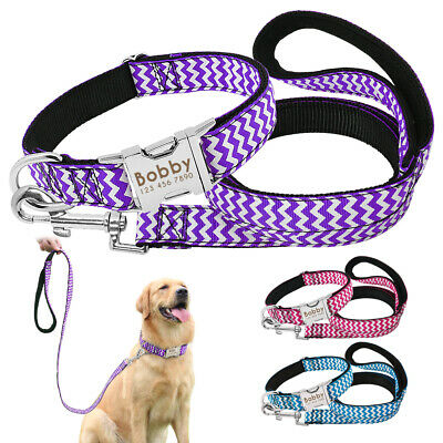 Personalised Dog Collar Leash Nylon Custom Engraved Name Medium Large Labrador