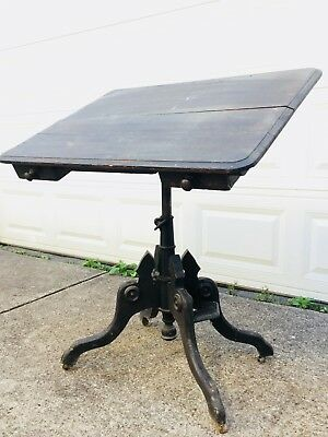 Antique 1877 Drawing Drafting Tilt Top Table Clowes & George Gates Oak & Iron