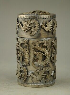 Old Chinese Noble Miao Silver Round Dragon Phoenix Coccoloba Toothpick Box a01