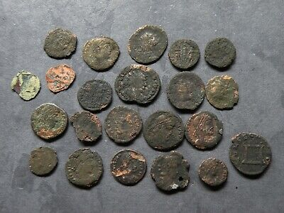 Ancient Roman Coin Lot 22 Total Antique Bronze Uncleaned 100-300AD Collectible