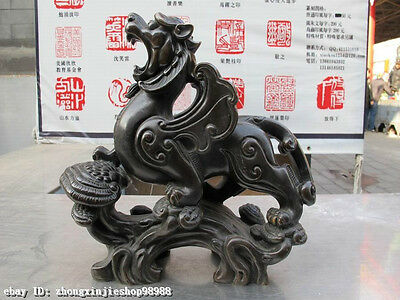 Chinese  Pure Bronze Copper Fengshui Foo Dog Lion kylin Fly Dragon beast Statue