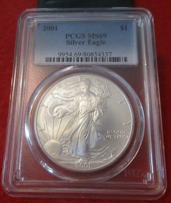 2001 PCGS MS 69 Silver Eagle. ASE. Blast White                           MF-435