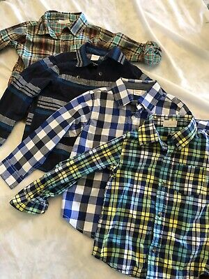 LOT of 4 Toddler Boys 3T GYMBOREE Crazy 8 Long sleeve Button Shirts Plaids