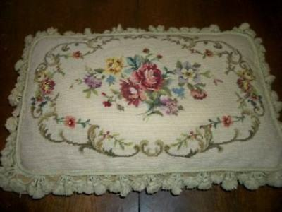 French Scroll Aubusson Petit Point Needlepoint Feather Pillow Roses Huge Vintage