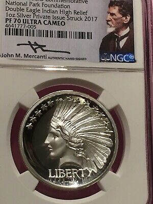 2017-St-Gaudens Commemorative Silver Double Eagle Indian NGC-PF70UC High Relief