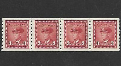 Canada Coil Stamps #265 Strip Of 4 (Nh) From 1942-43