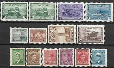 Canada Stamps #249-262 Set Of 14 (Mnh) From 1942-43