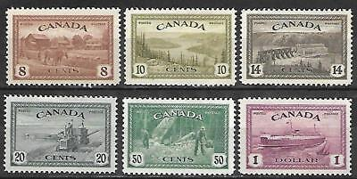 Canada Stamps #268-273 Set Of 6 (Hinged) From 1946