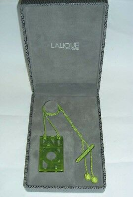 Authentic $395 LALIQUE Lime Green Deco Letter Crystal Pin Pendant Necklace NIB