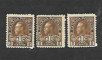 Canada Stamps #mr4 Lot Of 3 (Hinged) From 1916 Vg/f