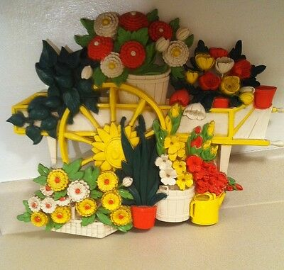 syroco 1970's Flowers Floral Wagon Wall hanging mid century Modern Vtg Decor 70s
