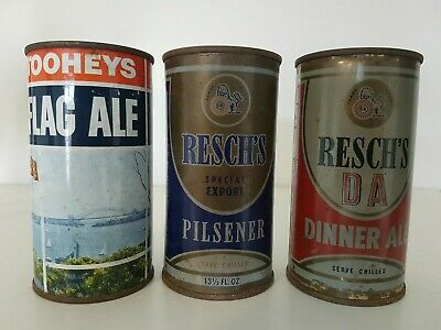 3 Nice Flat Top Beer Cans.