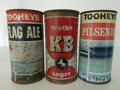 3 Old Flat Top Beer Cans
