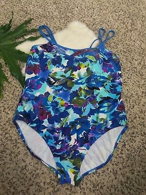 Catalina Woman Swimwear Bathing Suit 1 Pc Padded Floral Multi-Color Plus Sz 3X