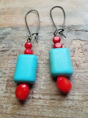 Handmade Red Bamboo Coral Turquoise Color Beads Earrings Brass Earwires E08