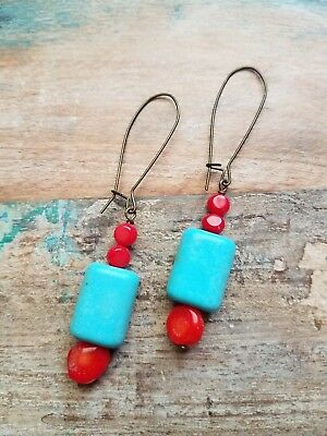 Handmade Red Bamboo Coral Turquoise Color Beads Earrings Brass Earwires E01